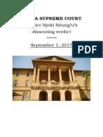Kenya Supreme Court Justice Njoki Ndung'u's  dissenting verdict