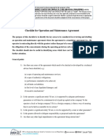 Operation Maintenance Agreement Checklist En