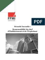 Sécurité Incendie - Responsabilité Du Chef d'Etablissement Et de l'Exploitant