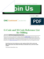 CNC G-Code and M-Code Reference List for CNC Mills