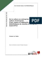 48309 de La Culture en Entreprise a La Culture d Entreprise Crise Enjeux Et Legitimite Des Bibliotheques de Comites d Entreprise Aujourd Hui