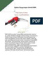 Mencermati Kebijakan Pengurangan Subsidi BBM Ala Jokowi