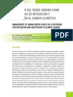 La Gestión Del Verde Urbano Como Un Criterio de Mitigación y Adaptación Al Cambio Climático.