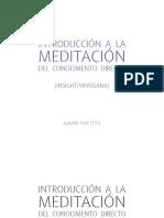 Introducción a la Meditación del Conocimento Directo (Insight/Vipassana)