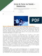 A Importância Do Sono Na Saúde – Melatonina