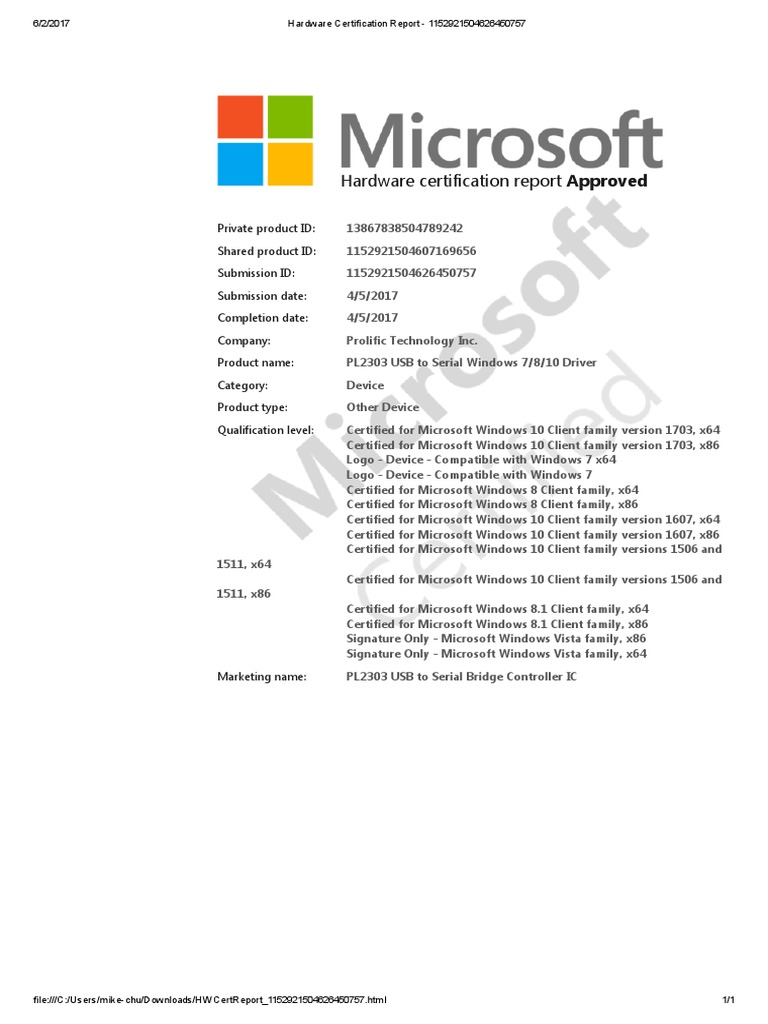 Hardware certification report 1152921504626450757 windows 10 hardware certification report 1152921504626450757 windows 10 microsoft windows 1betcityfo Image collections