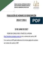 Horario de Reinscripcion 2018