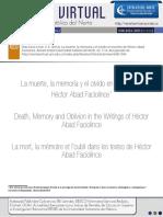 Muerte, Memoria y Olvido en Hector Abad