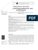 Demystifying Productivity and Performance