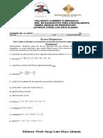 Examen de Diagnostico Para La Primera Semana de Regularizacion de Mate i de Bachillerato