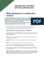 Ship Sanitation Control Exemption Certificate
