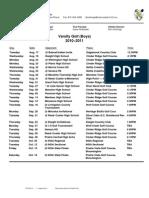 2010 Coal City Golf Var. Schedule