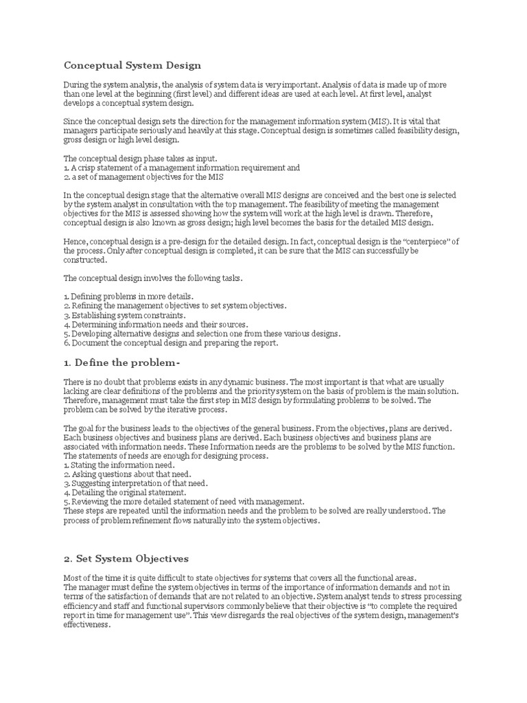 Conceptual System Design Overview Systems Design Information System