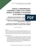 """La filosofía en Colombia con el capítulo titulado """"Benthamismo y antibenthamismo"""", del libro Estudios sobre el pensamiento colombiano Vol. 1,"""