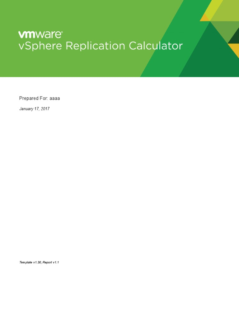 VSphere Replication Calculator | Replication (Computing) | Virtual