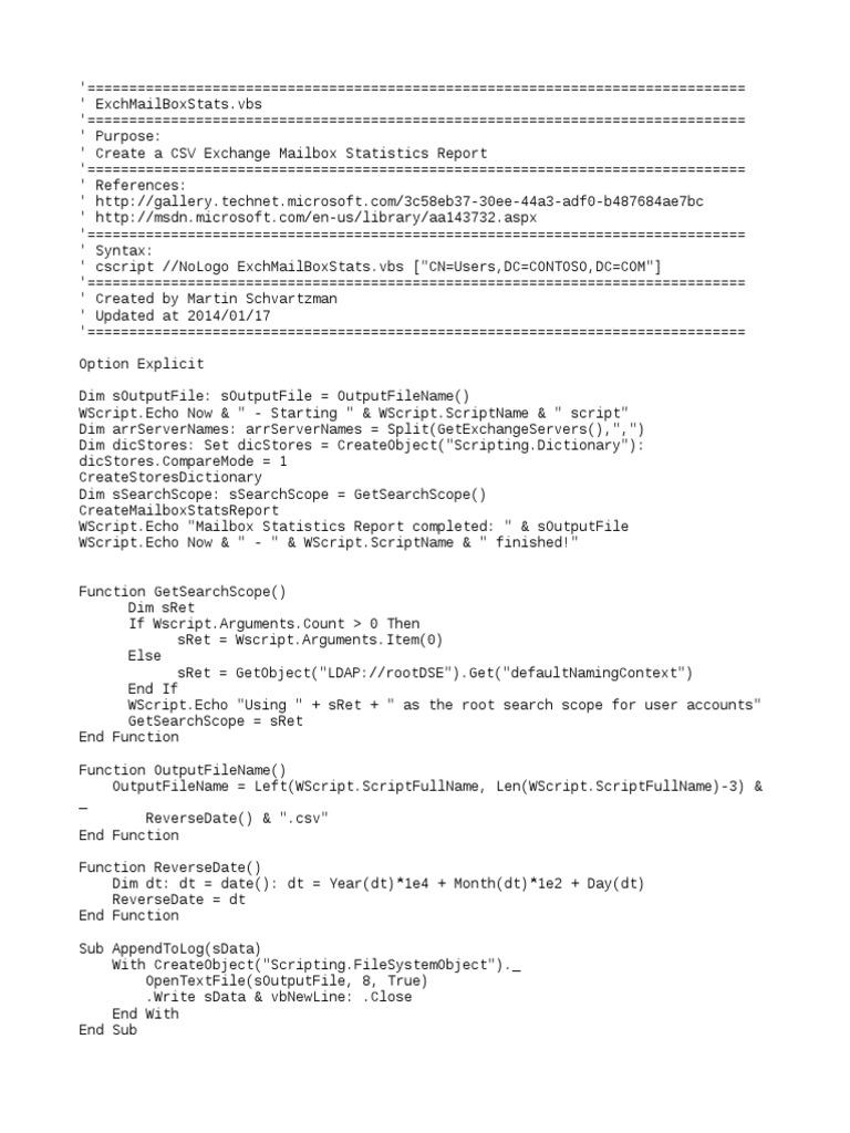Ex Ch Mailbox Stats | Computer Programming | Internet