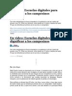 Escuelas Digitales Para Dignificar a Los Campesinos