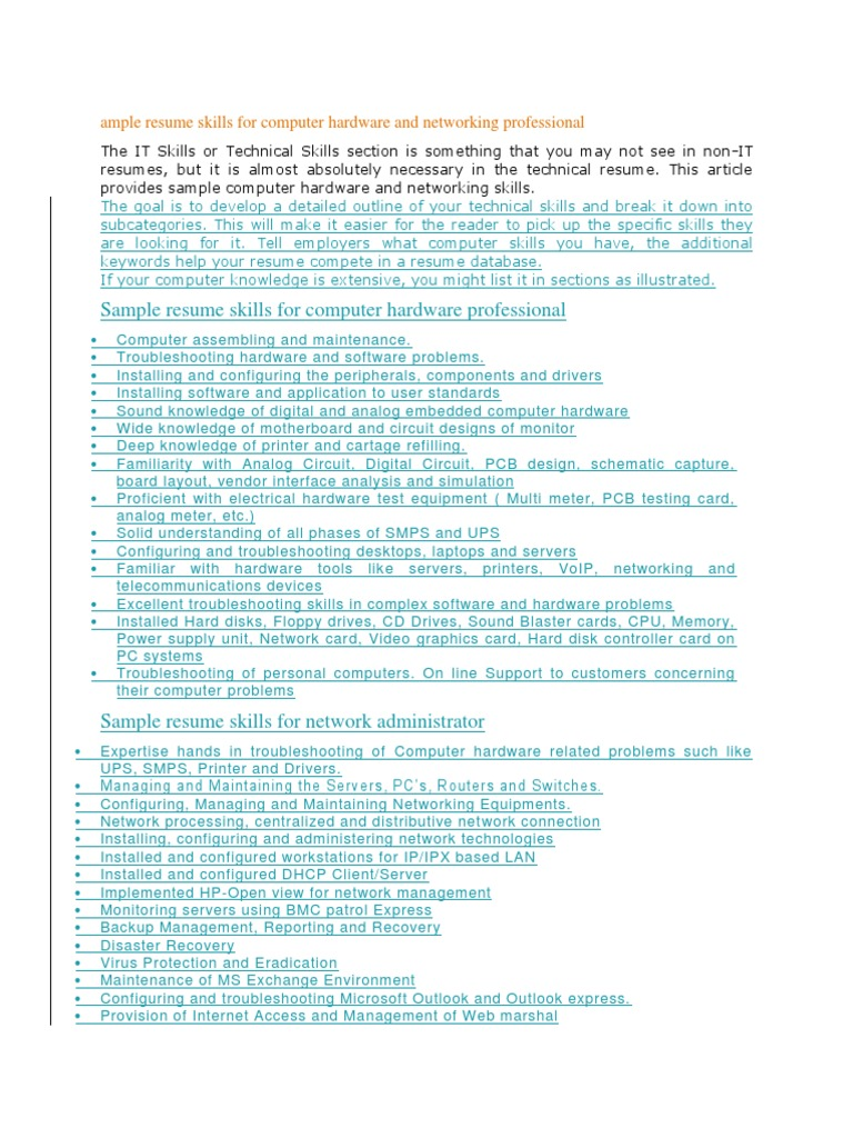 sample resume skills for computer hardware and networking professional