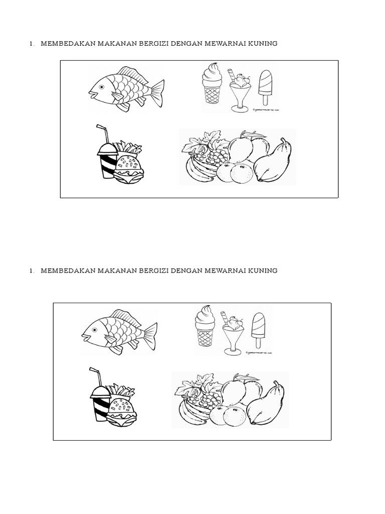 Membedakan Makanan Bergizi Dengan Mewarnai Kuning