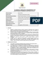 IMGs Undertaking Training in Australia Policy