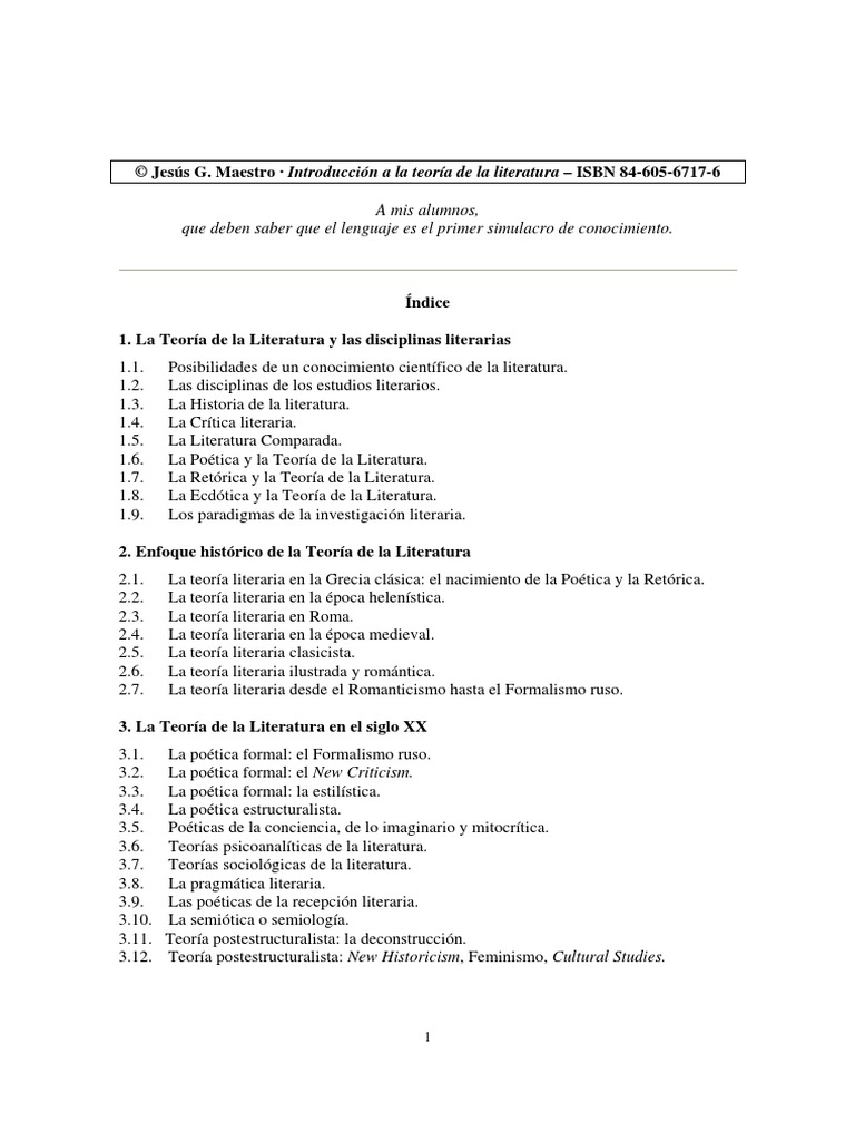 Jesús G. Maestro - Introducción A La Teoria Literaria