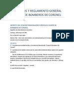 Reglamento y Estatutos Del Cuerpo de Bomberos de Coronel