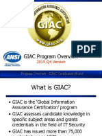 GIAC Program Overview v2015 | Professional Certification