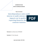 Interdependance Entre Audit Interne Et Audit Externe Et Leurs Impacts Sur La Qualite Du Reporting Financier Dans Le Contexte Tunisien