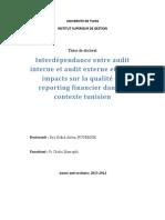 Interdependance Entre Audit Interne Et Audit Externe Et Leurs Impacts Sur La Qualite Du Reporting Financier Dans Le Contexte Tunisien
