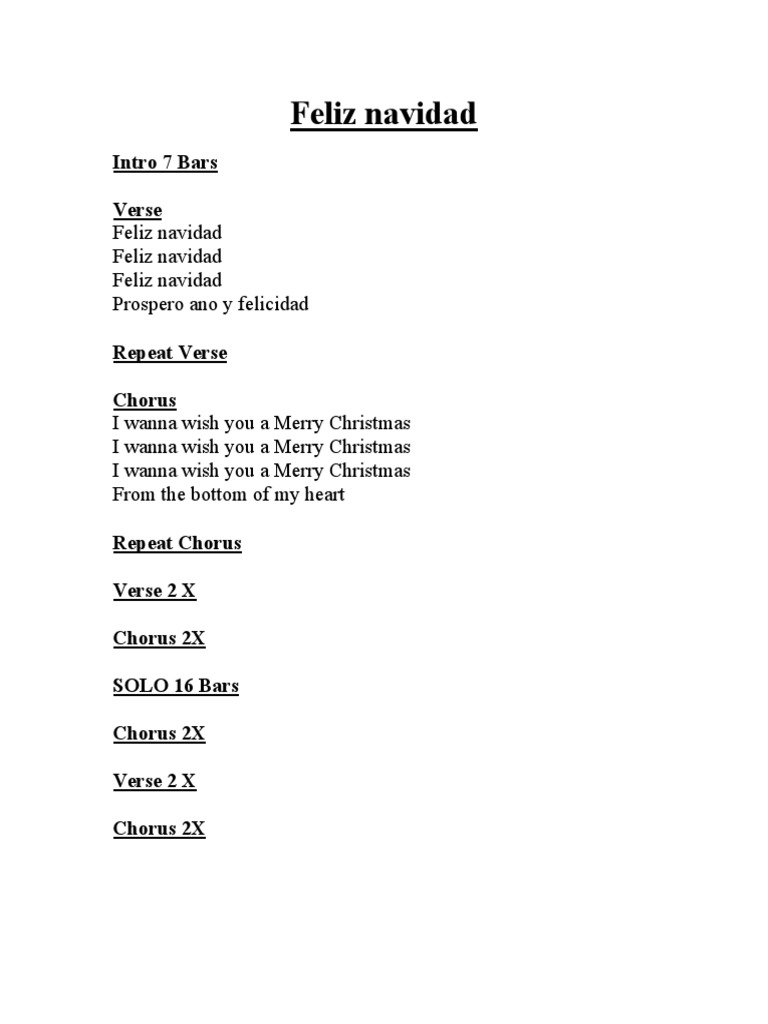 Lyrics Feliz Navidad I Wanna Wish You A Merry Christmas - ARCHIDEV