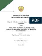 Evoluciòn Del Precio Del Petròleo Del Ecuador en El Periodo 2007 - 2014