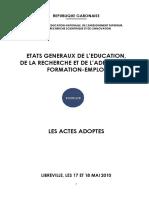 Gabon Etats Generaux Education Actes Adoptes