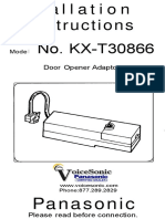 Panasonic KX T30866 Door Opener Adaptor Installation Instructions