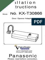 Panasonic KX T30866 Door Opener Adaptor Installation Instructions