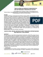 t098 Reutilização e Reciclagem de Resíduos Siderúrgicos Oportunidades de Pesquisa e Desafios Do Setor