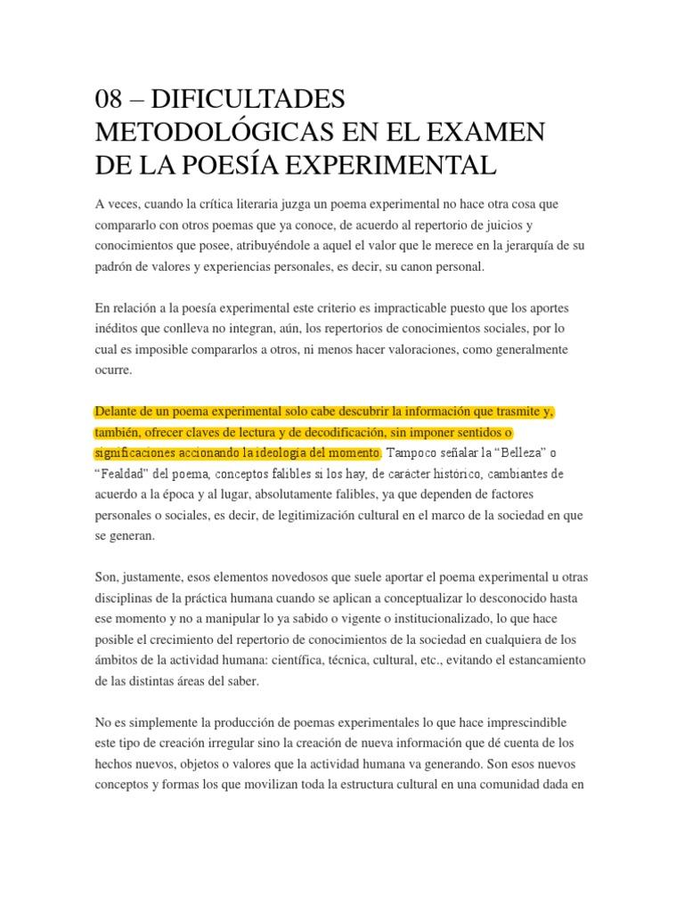 08 Dificultades Metodológicas En El Examen De La Poesía