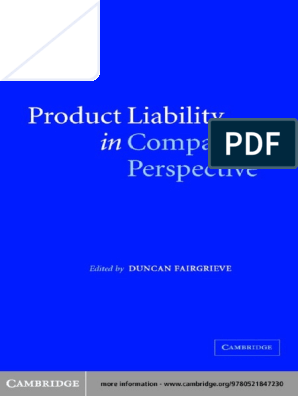 Product Liability In Comparative Perspective Blood