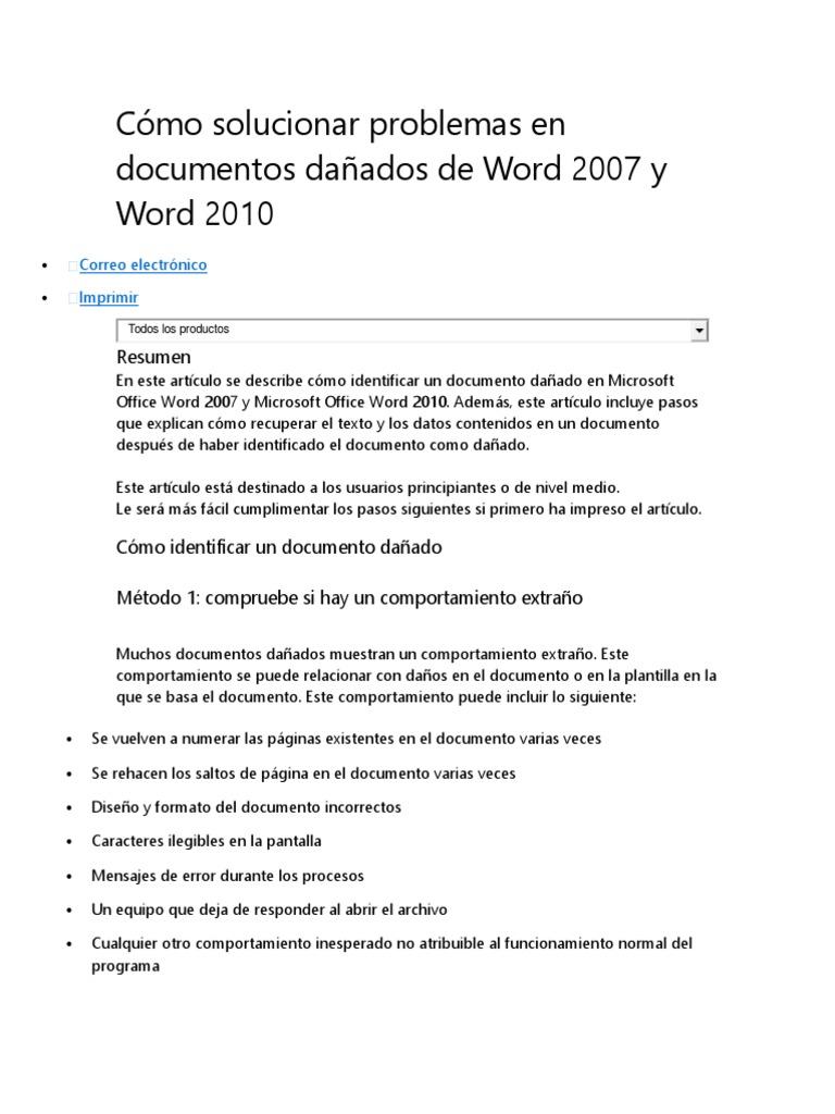 Cómo Solucionar Problemas en Documentos Dañados de Word 2007 ...