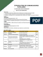 Programa del I Encuentro Metropolitino de Comunicadores Populares, Lima 14 y 15 de setiembre 2017