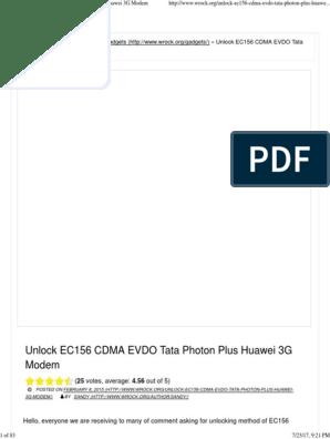 the ec156 tata photon plus huawei 3g cdma evdo modem