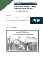 Determinacion de La Ley de Corte, Valor de Mineral y Estimacion de Recursos - Compañia Minera ATA