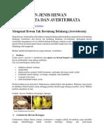 Pembagian Jenis Hewan Vertebrata Dan Avertebrata