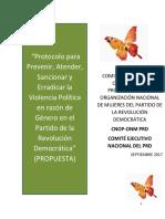 Protocolo del PRD para Prevenir, Atender, Sancionar y Erradicar la Violencia Política en razón de Género