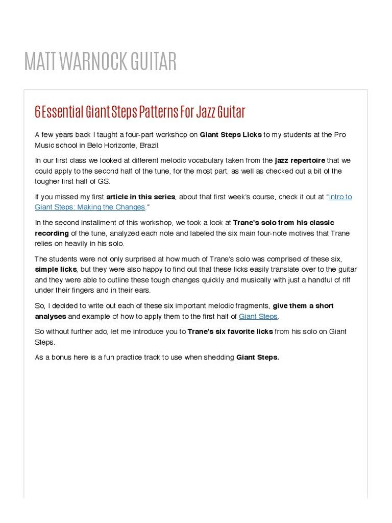 6 Essential Giant Steps Patterns For Jazz Guitar   MATT WARNOCK