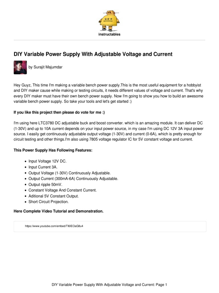 Diy Variable Power Supply With Adjustable Voltage Constant Circuit Electrical Connector