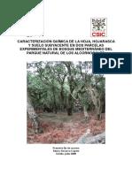Caracterización química de la hoja, hojarasca y suelo