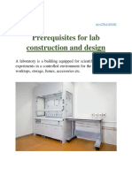 Prerequisites for lab construction and design
