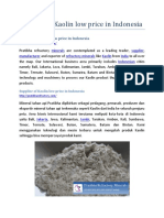 Supplier of Kaolin Low Price in Indonesia