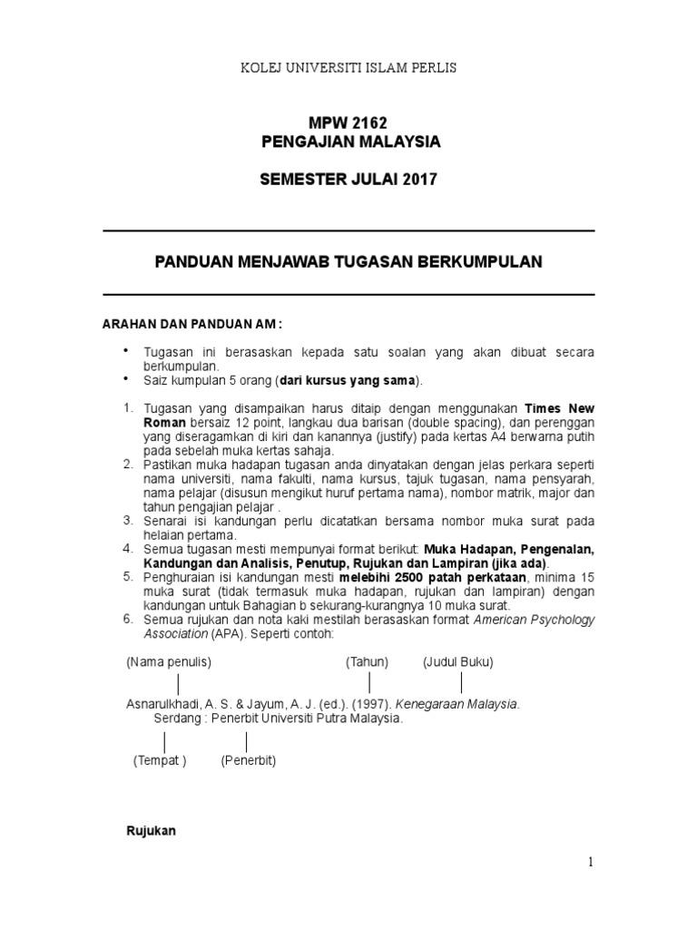 Assignment Pengajian Malaysia