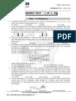 Neet - Combined Test - 1 (p, c, b) - 02.07.2017